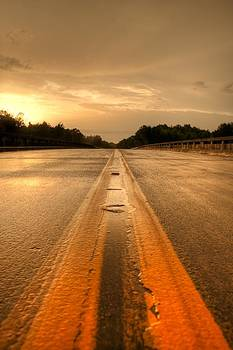 Stormy Yellow Lines by David Paul Murray