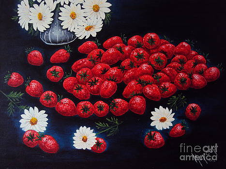 Strawberries and Daisies Original Painting Oil on Canvas by Drinka Mercep