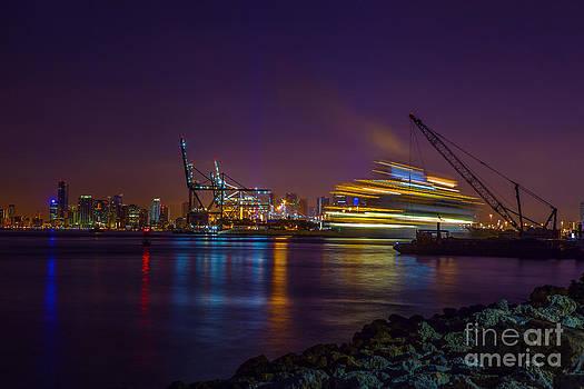 Streaks of Light Glow in the Miami Night by Nicholas Tancredi