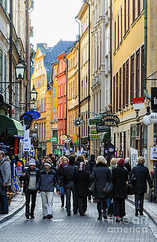 David Hill - Street in Gamla Stan - the old part of Stockholm - Sweden
