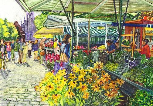 Watercolor Munster Germany Street Market  by Carol Wisniewski