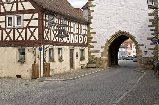 Street Scene in Prichsenstadt Germany by David Davies