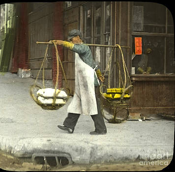 California Views Mr Pat Hathaway Archives - street vendors carrying twin baskets suspended from shoulder San Francisco Chinatown circa 1900