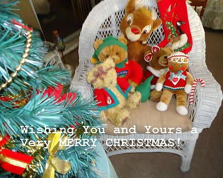 Stuffed Bearand Reindeer Christmas by Debbie Wassmann
