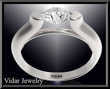 Stunning Diamond 14k White Gold Heart Engagement Ring by Roi Avidar