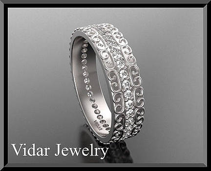 Stunning Diamond Eternity 14k White Gold Woman Wedding Ring by Roi Avidar