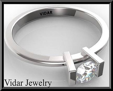 Stunning Diamond Solitaire 14k White Gold Engagement Ring by Roi Avidar