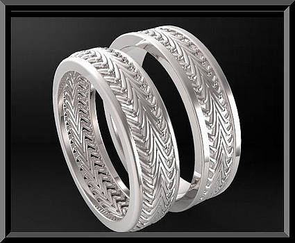 Stunning His And Hers 14K White Gold Matching Wedding Bands Set by Roi Avidar