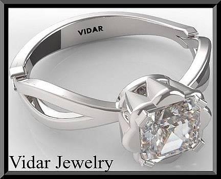 Stunning Princess Cut Diamond 14k White Gold Engagement Ring by Roi Avidar