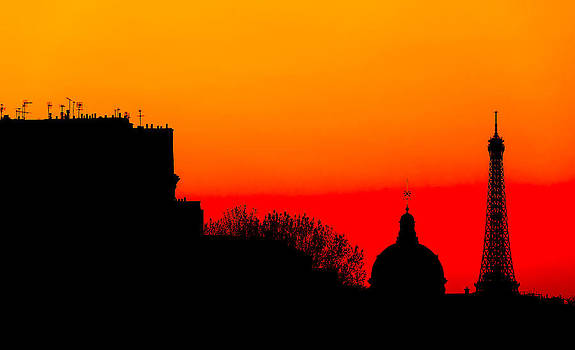 Stylized Paris Skyline with Eiffel Tower. Silhouette on Colorful by Francesco Rizzato