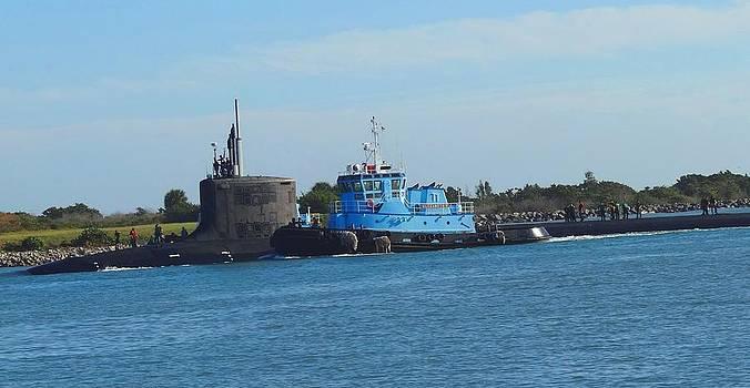 Submarine Entering Port by Fineartist Ellen