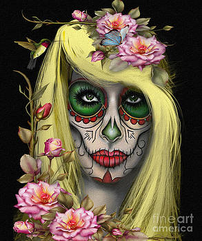 Sugar Skull Jess in Color by Debbie Engel