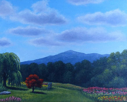 Summer 2012 Mt Monadnock from Rosaly's Garden by Oksana Zotkina