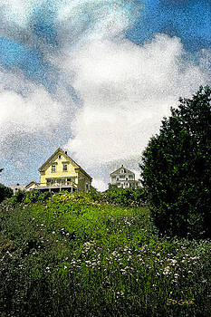 Summer Afternoon Deer Isle Maine Yellow House on Hill Stonington Coast by Ed A Gage