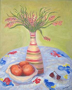 Fruit with flowers on The Summer Tablecloth by Laurel Anderson-McCallum