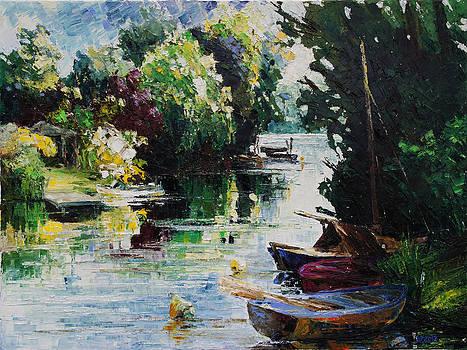 Summer At The Creek Fischerbruch In Rostock by Barbara Pommerenke