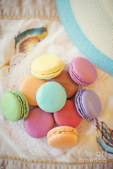 Summer Hat and Colorful Macaroons by Susan Gary