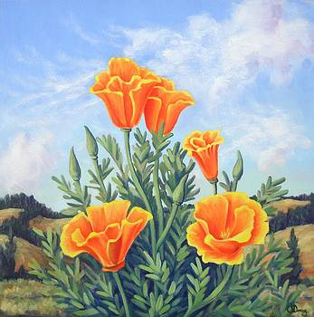 Summer Hills and Orange Poppies by James Derieg