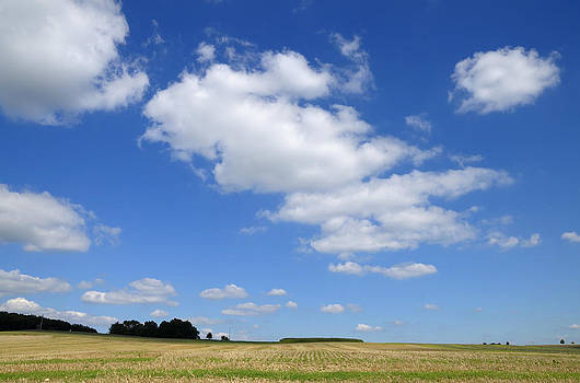 Summer landscape blue sky with clouds by Matthias Hauser