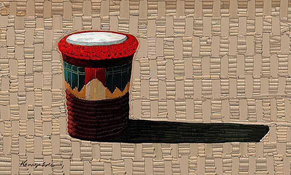 Kanayo Ede - Sun Basket - Textured Ethnic basket painting