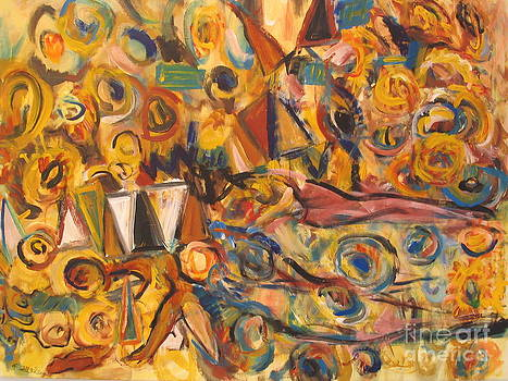 Sun- Bathing Among Yellow  Roses by Fereshteh Stoecklein