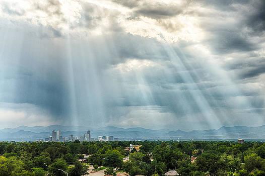 Sun Rays Denver Skyline by Christopher Broste