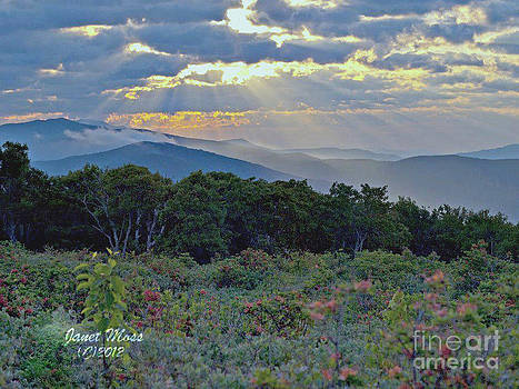 Sun rays over the mountain by Janet Moss