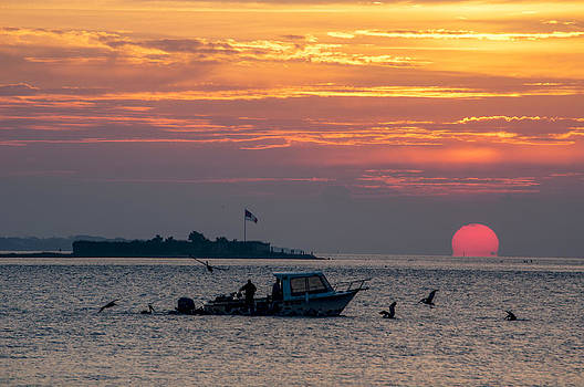 Sun Rise over Fort Sumter by Allen Carroll