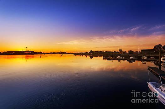 Jo Ann Snover - Sun rising behind Navy Yard buildings