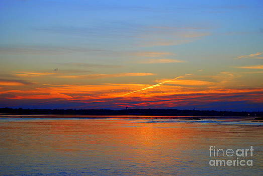 SUNDOWN Along The Merrimac River in Salisbury Beach Massachusetts by Eunice Miller