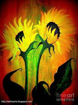 Sunflower Paintings-2 by Rekha Artz