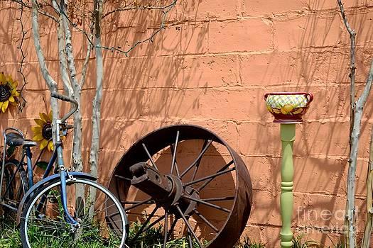 Sunflowers a Bike and a Pot by Derry Murphy