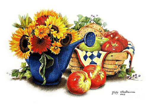 Sunflowers and apples by Judy Skaltsounis