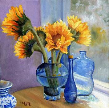 Sunflowers and Blue Bottles by Marlene Book