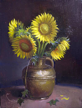 Sunflowers and Brass by Keith Gunderson