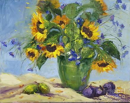 Sunflowers and Cornflowers by Jorunn Kristiansen Coe