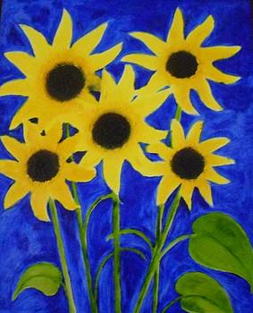 Sunflowers and Leaves by Leena Samat Kuchadiya