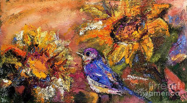 Ginette Callaway - Sunflowers and Little Blue Bird