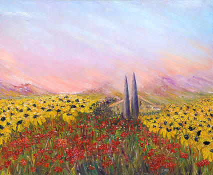 Sunflowers And Poppies by Helen Kagan