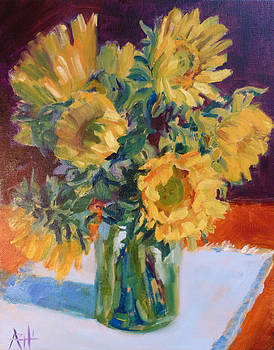 Sunflowers in a Jar by Azhir Fine Art