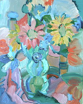 Sunflowers in blue vase by Brenda Ruark
