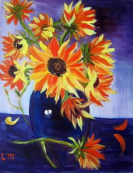 Sunflowers In Blue Vase by Lia  Marsman