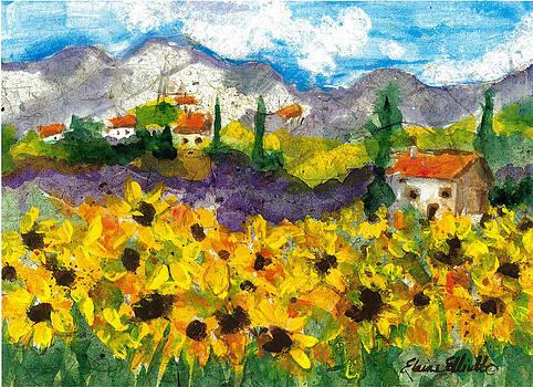 Sunflowers in Tuscany by Elaine Elliott