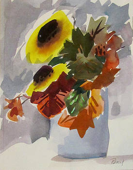 Sunflowers in Vase by Pat Percy
