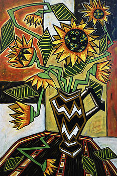 Sunflowers in Zigzag Vase by Donald Bruce Wright