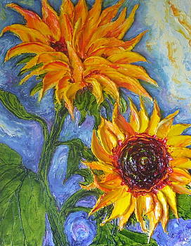 Sunflowers on Blue by Paris Wyatt Llanso
