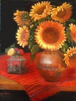 Sunflowers on Red Cloth by Jeanene Stein