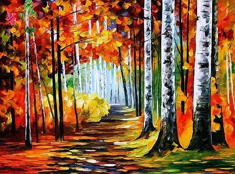 Sunny October 2 - PALETTE KNIFE Oil Painting On Canvas By Leonid Afremov by Leonid Afremov