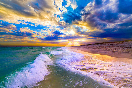 Sunrays Breaking over Blue Sea-Destin Florida Sunset by eSzra