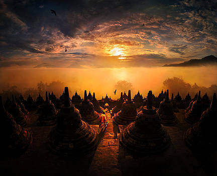 Sunrise at Borobudur by Weerapong Chaipuck